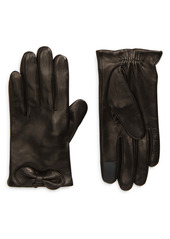 kate spade new york logo bow leather tech gloves