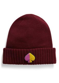 kate spade new york spade logo patch knit beanie
