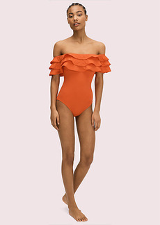 Kate Spade Palm Beach Ruffle Off-The-Shoulder One-Piece