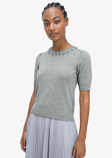 Kate Spade Pearl Crystal Collar Sweater