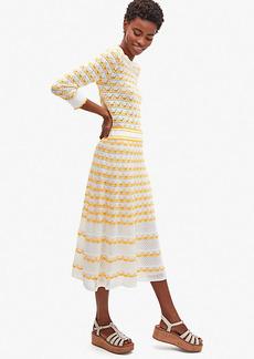 Kate Spade Striped Pointelle-Knit Skirt
