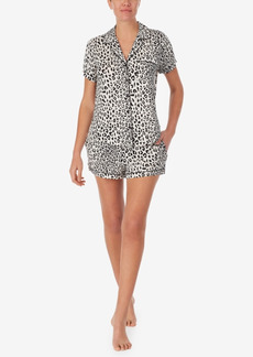 Kate Spade Women's Short Sleeve Knit Notch Short Pajama Set