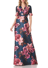 Kay Unger New York Jessica Floral Mikado Gown