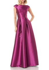 Kay Unger New York Kay Unger Addison Pleat Mikado Gown