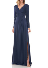 Kay Unger New York Kay Unger Adelina Long Sleeve Evening Gown