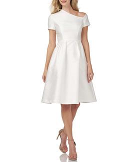 Kay Unger New York Kay Unger Asymmetrical Neck Satin Jacquard Cocktail Dress