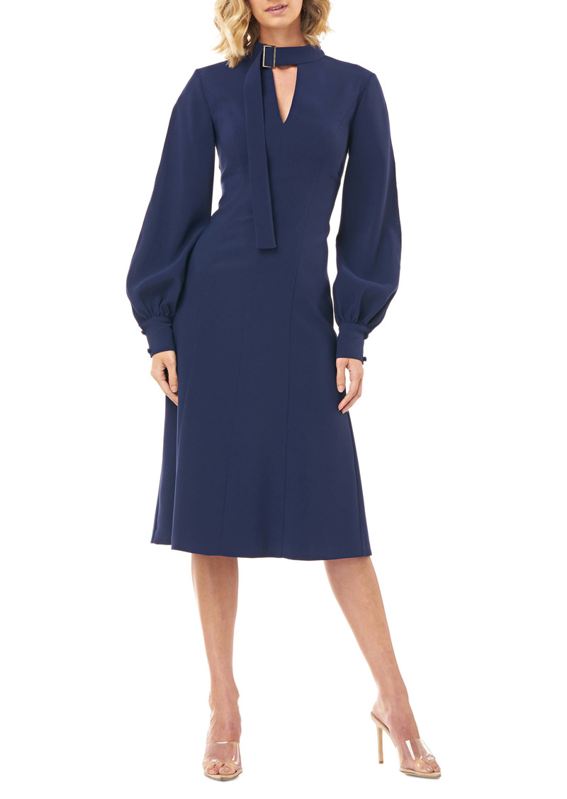 Kay Unger New York Kay Unger Belt Collar Long Sleeve Stretch Crepe Dress