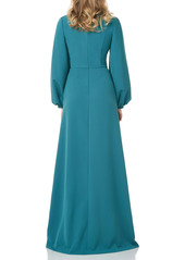 Kay Unger New York Kay Unger Bishop Long Sleeve Crepe Gown