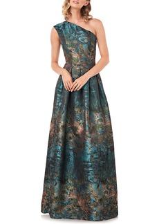 Kay Unger New York Kay Unger Cara Metallic Jacquard One-Shoulder Gown