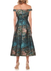 Kay Unger New York Kay Unger Carina Metallic Jacquard Off the Shoulder Cocktail Dress