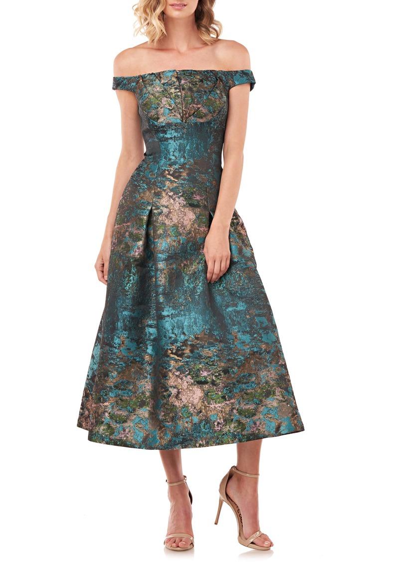 Kay Unger New York Kay Unger Carina Metallic Jacquard Off the Shoulder Cocktail Dress