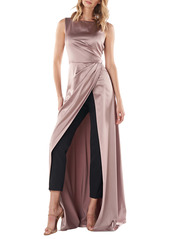 Kay Unger New York Kay Unger Constance Charmeuse & Crepe Maxi Romper
