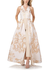 Kay Unger New York Kay Unger Floral Jacquard Maxi Romper