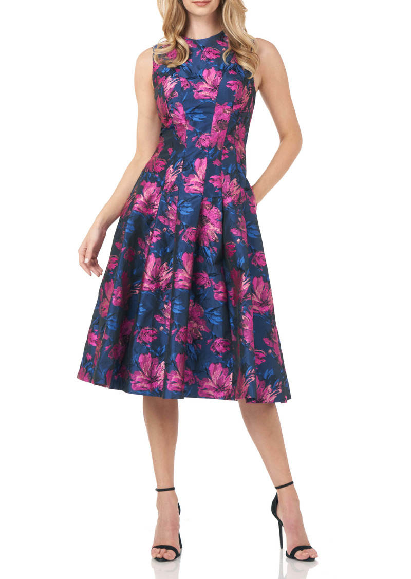 Kay Unger New York Kay Unger Floral Jacquard Midi Dress