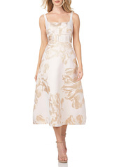 Kay Unger New York Kay Unger Floral Metallic Jacquard Midi Cocktail Dress