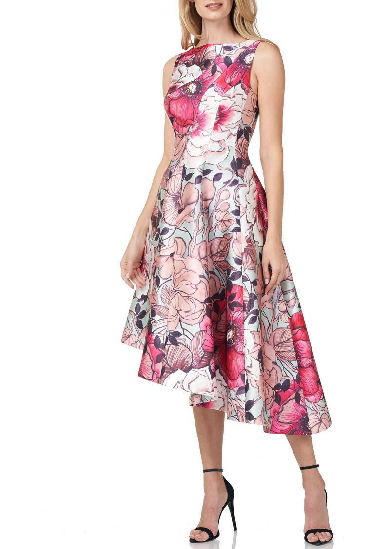 Kay Unger New York Kay Unger Floral Print Asymmetrical Hem Mikado Dress