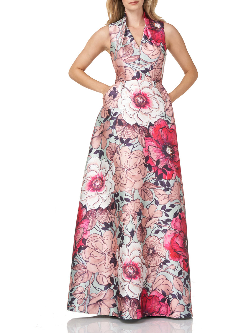 Kay Unger New York Kay Unger Floral Print Mikado A-Line Gown