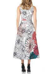 Kay Unger New York Kay Unger Floral Print Mikado Cocktail Dress