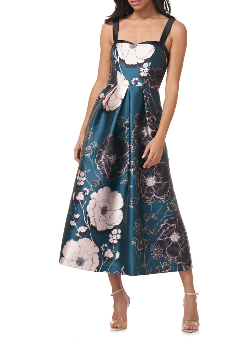 Kay Unger New York Kay Unger Floral Print Mikado Midi Cocktail Dress