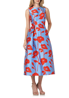 Kay Unger New York Kay Unger Floral Satin Jacquard Cocktail Dress