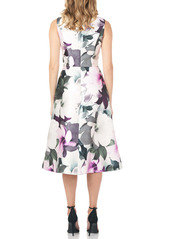 Kay Unger New York Kay Unger Floral Sleeveless A-Line Mikado Cocktail Midi Dress