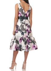 Kay Unger New York Kay Unger Floral Sleeveless Mikado Cocktail Midi Dress