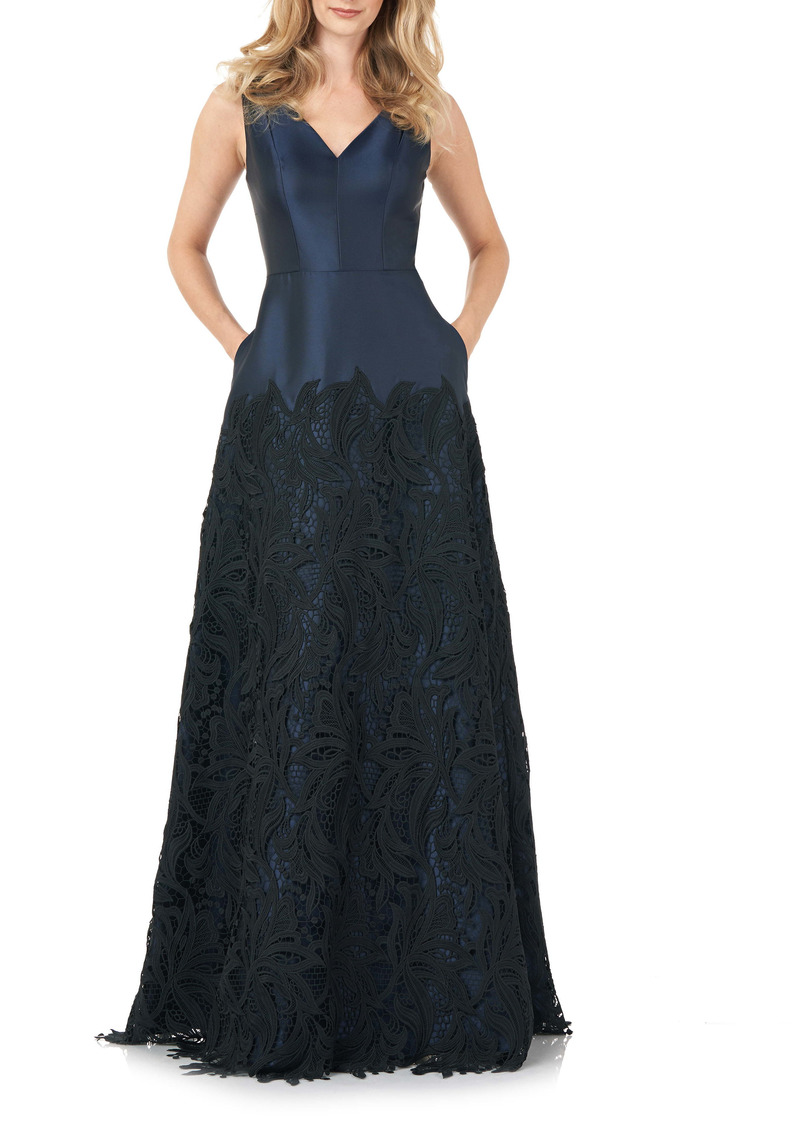 Kay Unger New York Kay Unger Guipure Lace Mikado A-Line Gown