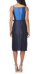 Kay Unger New York Kay Unger Haley Two-Tone Satin Bow Front Midi Cocktail Dress