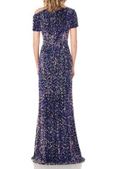 Kay Unger New York Kay Unger Hutton One-Shoulder Sequin Velvet Gown