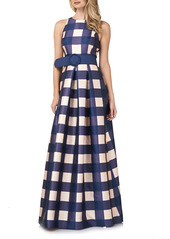 Kay Unger New York Kay Unger Jacqueline Gingham Belted A-Line Gown