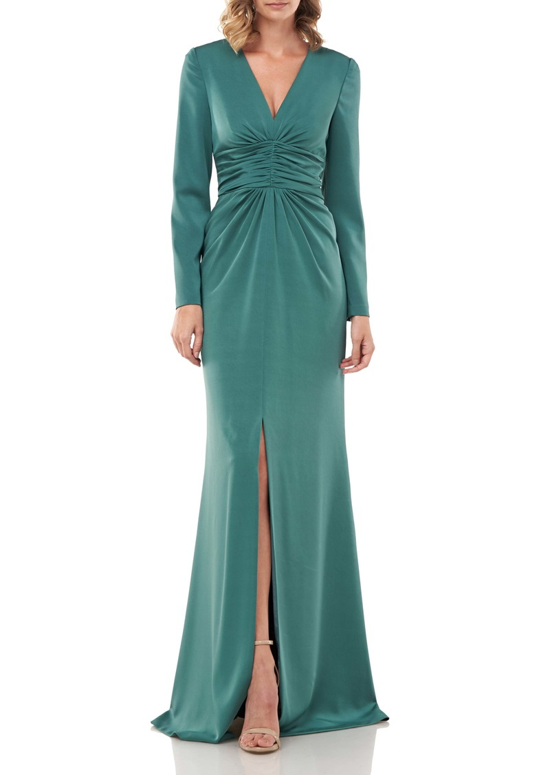 Kay Unger New York Kay Unger Kayla Long Sleeve Evening Gown
