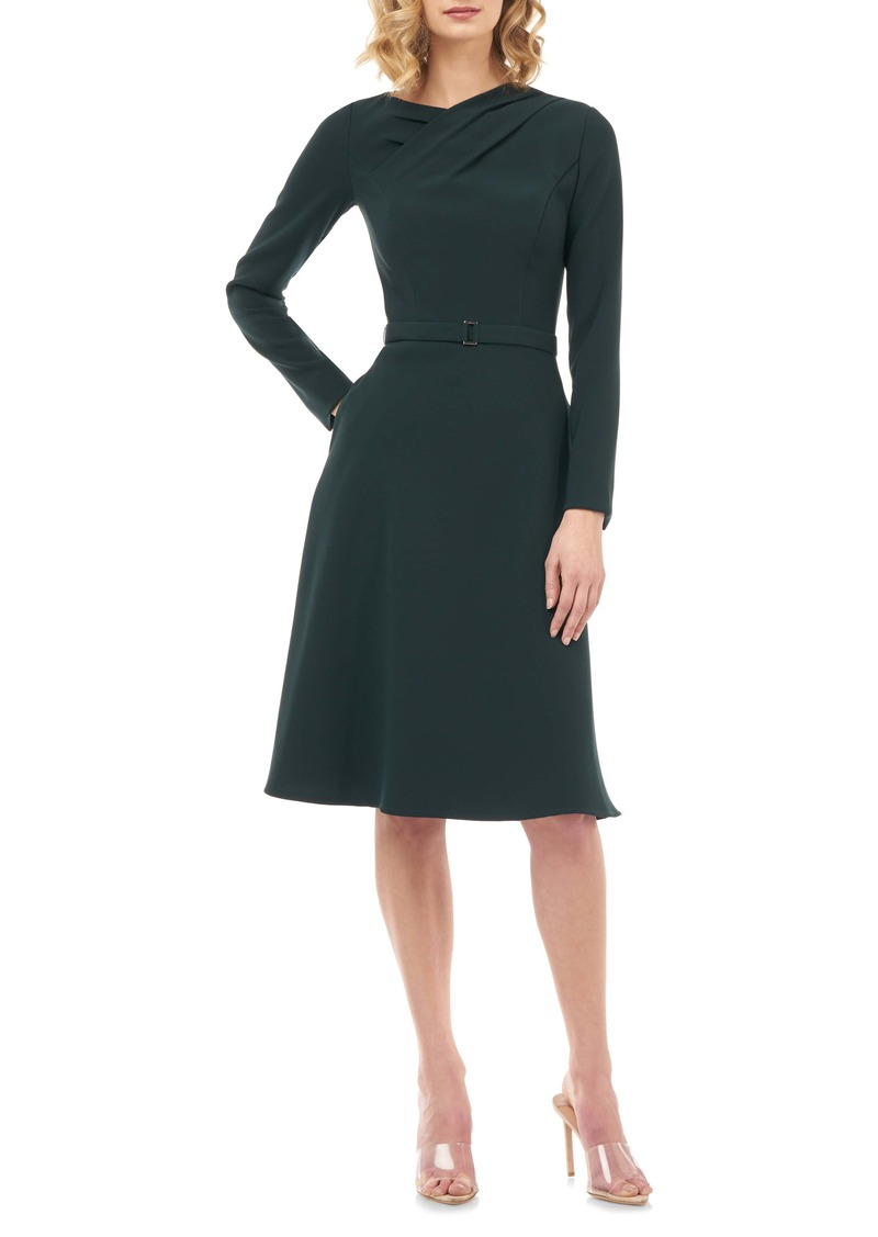 Kay Unger New York Kay Unger Lennox Long Sleeve Stretch Crepe Cocktail Dress