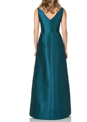 Kay Unger New York Kay Unger Lola Bow Twill A-Line Gown