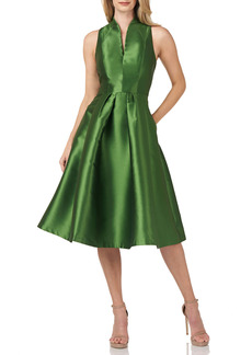 Kay Unger New York Kay Unger Lola Satin Twill Fit & Flare Midi Cocktail Dress