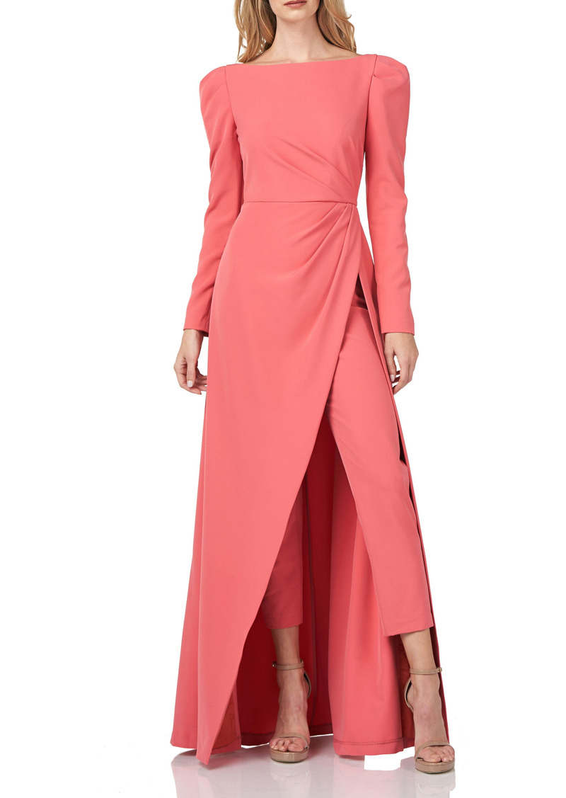 Kay Unger New York Kay Unger Long Sleeve Stretch Crepe Maxi Romper