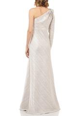 Kay Unger New York Kay Unger Metallic Stripe One-Shoulder Trumpet Gown