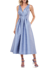 Kay Unger New York Kay Unger Olivia Pleated Jacquard Fit & Flare Dress