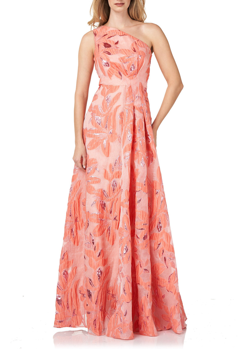 Kay Unger New York Kay Unger One-Shoulder Organza Jacquard Gown