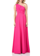 Kay Unger New York Kay Unger One-Shoulder Stretch Crepe Gown