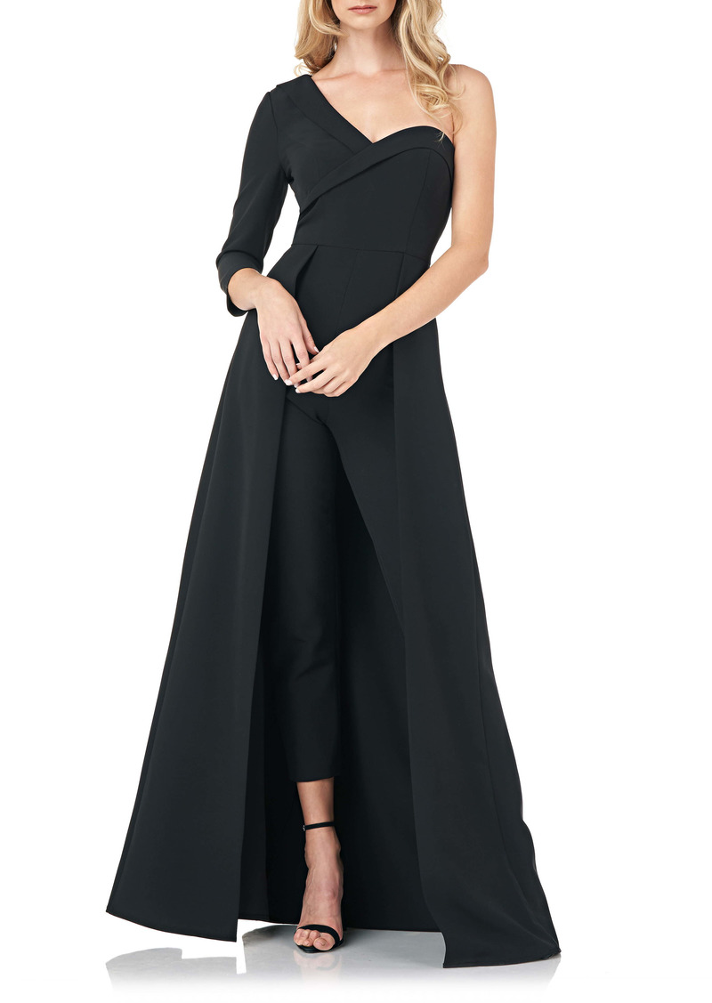 Kay Unger New York Kay Unger One Shoulder Stretch Crepe Maxi Romper
