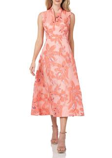Kay Unger New York Kay Unger Organza Jacquard Midi Cocktail Dress