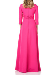 Kay Unger New York Kay Unger Pleated Swan Neck Stretch Crepe Gown