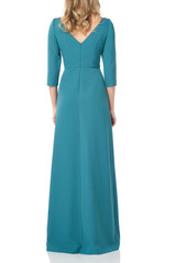 Kay Unger New York Kay Unger Pleated Waist Crepe A-Line Gown