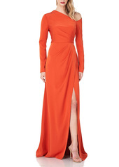Kay Unger New York Kay Unger Rowan One-Shoulder Long Sleeve Stretch Faille Gown