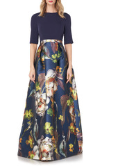 Kay Unger New York Kay Unger Sabrina Floral Mixed Media Gown