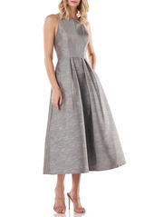 Kay Unger New York Kay Unger Shantung Jacquard Halter Neck Dress