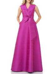 Kay Unger New York Kay Unger Textured Jacquard Bow Front Ballgown