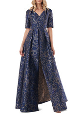 Kay Unger New York Kay Unger Two-Tone Floral Jacquard Maxi Romper