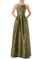 Kay Unger New York Kay Unger Two-Tone Jacquard Sleeveless Ballgown