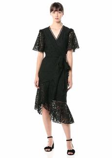 Keepsake The Label Women's Eternal Lace Short Sleeve Wrap Midi Dress  M